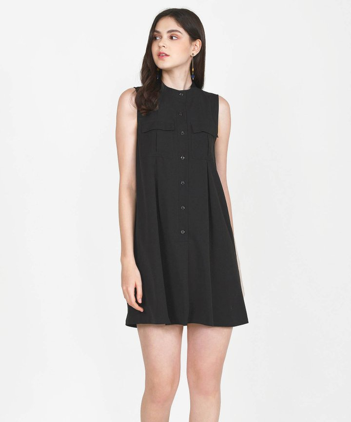 Olivier Chambray Shift Dress - Black