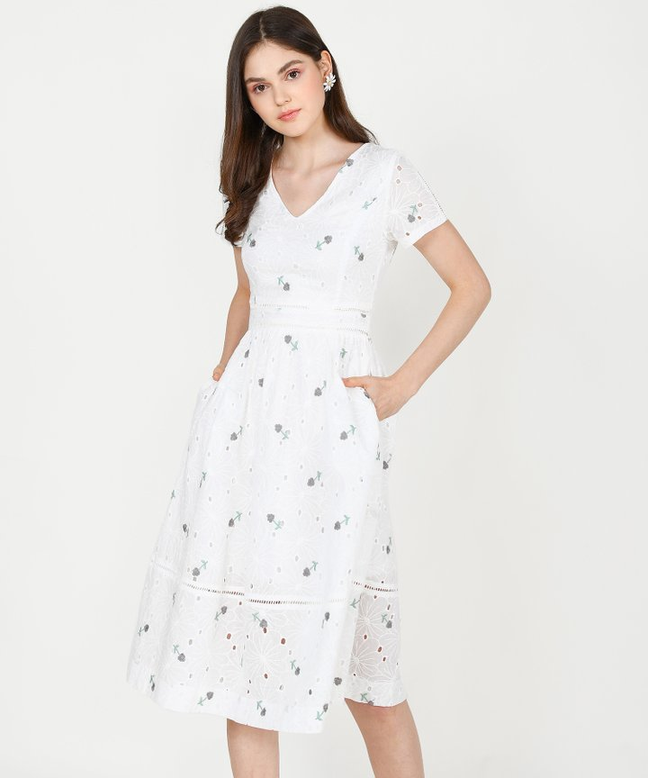 HVV Atelier Ysabel Embroidered Midi Dress (Restock)
