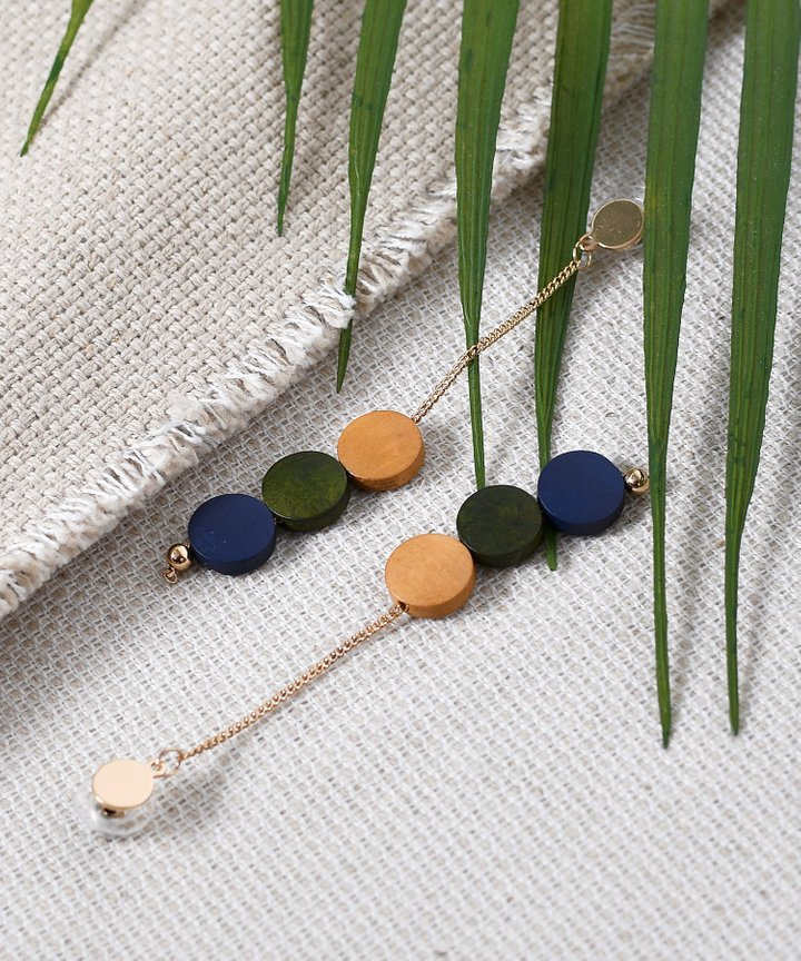 Lou Colourblock Drop Earrings - Navy
