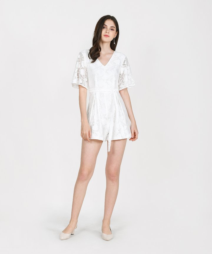 Anisse Lace Playsuit - White (Backorder)