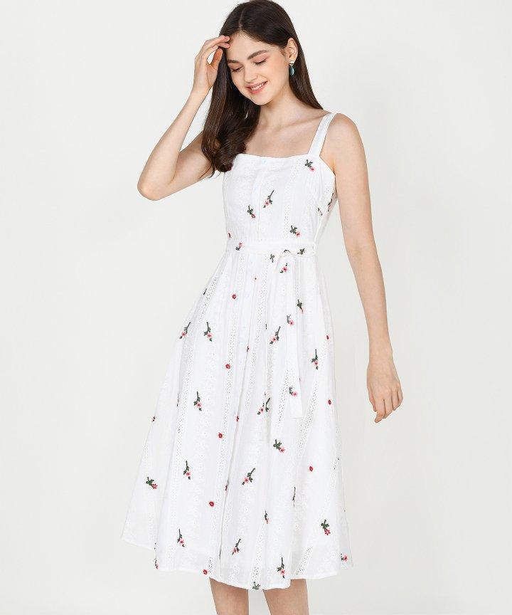 Trinette Floral Eyelet Midi Dress (Restock)