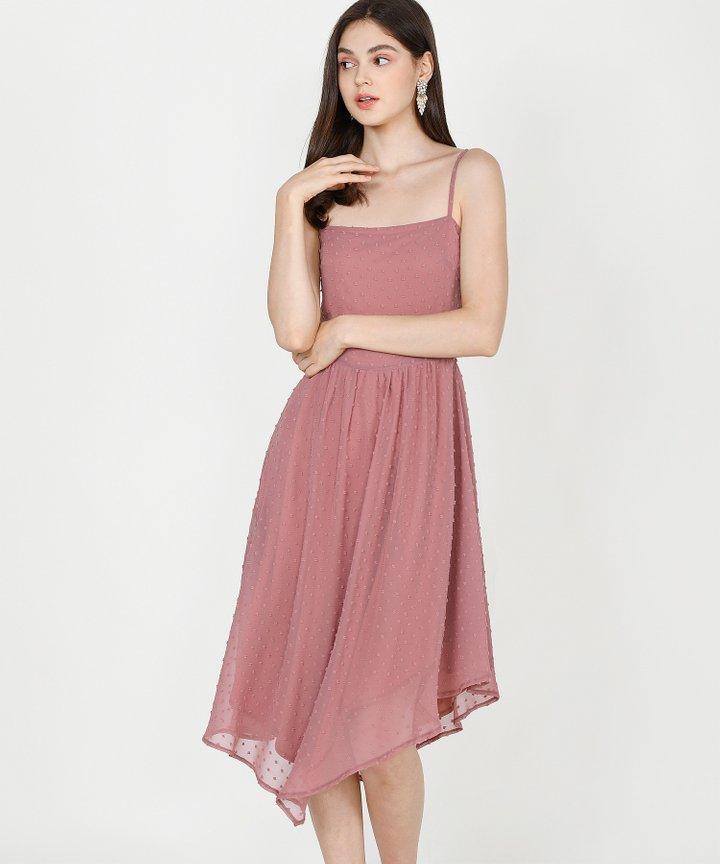 Chiara Textured Asymmetrical Midi - Rose