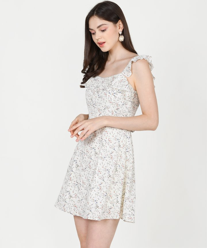 Colette Floral Ruffle Dress - Off-White