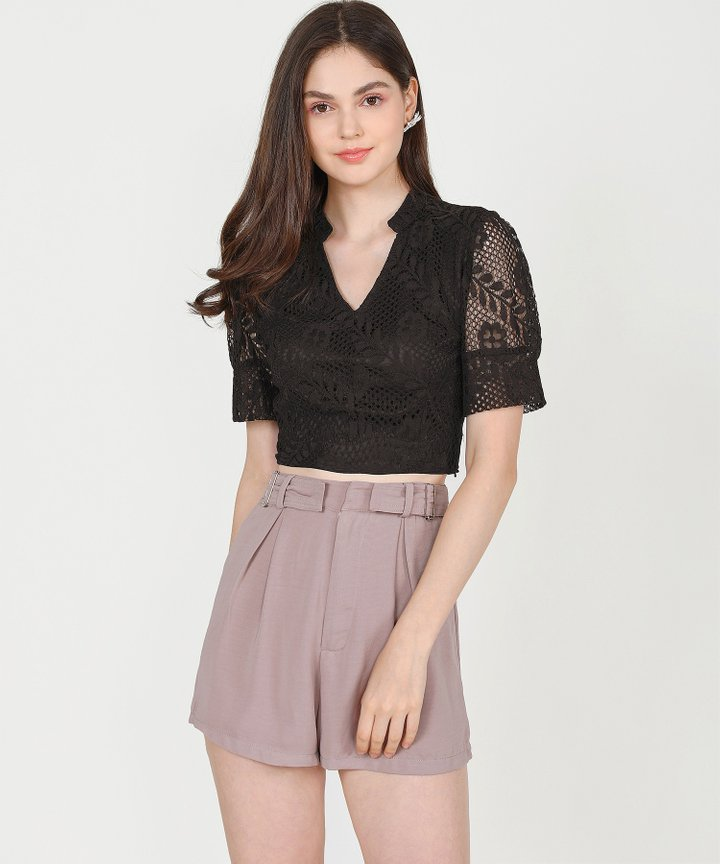 Tallulah Lace Cropped Top - Black