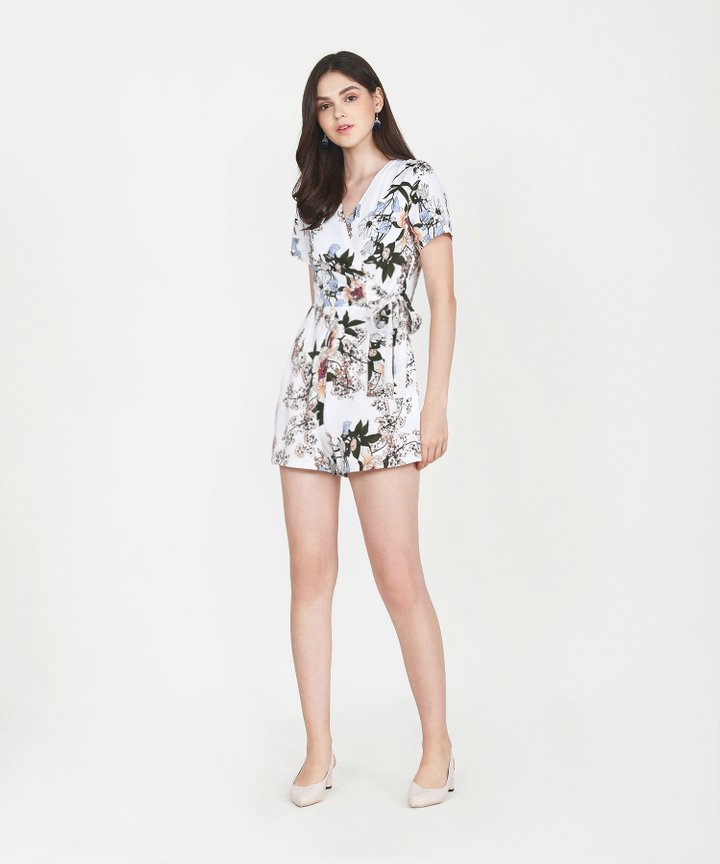 Tory Floral Playsuit - White