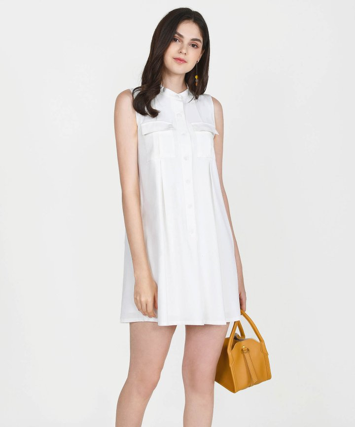 Olivier Chambray Shift Dress - White