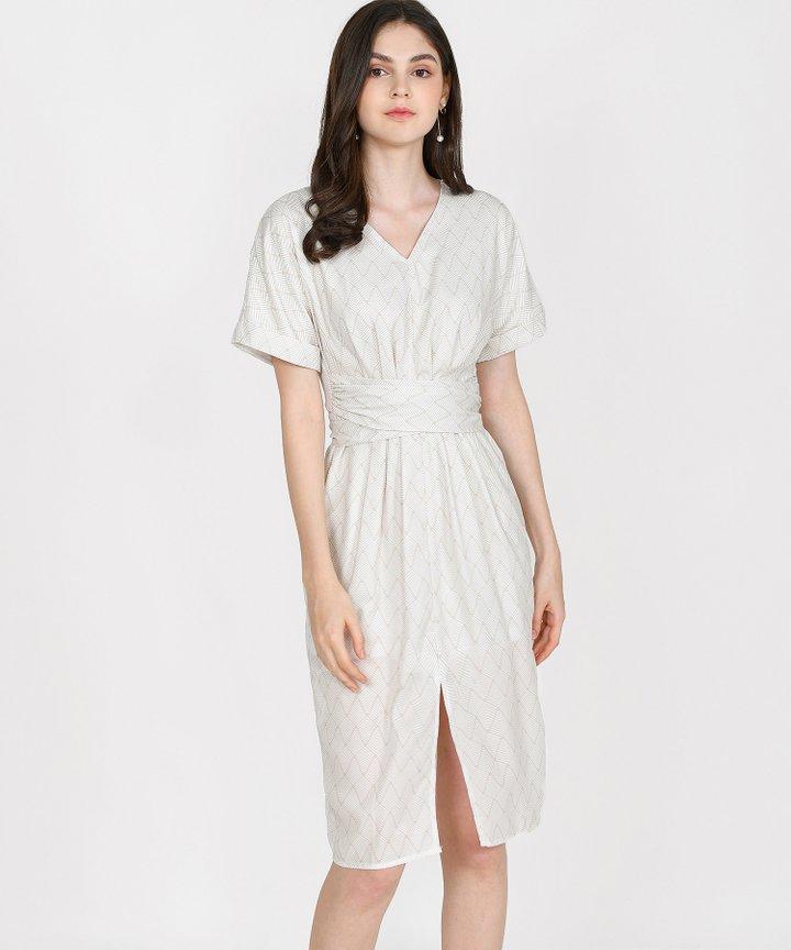 Sydney Printed Belted Midi Dress - Cream