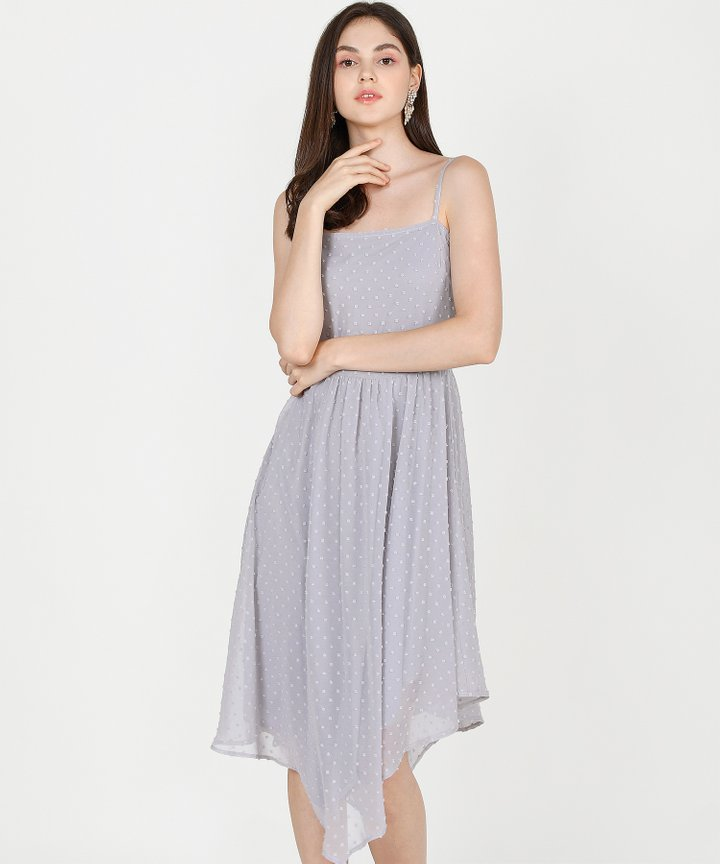 Chiara Textured Asymmetrical Midi Dress - Pale Grey
