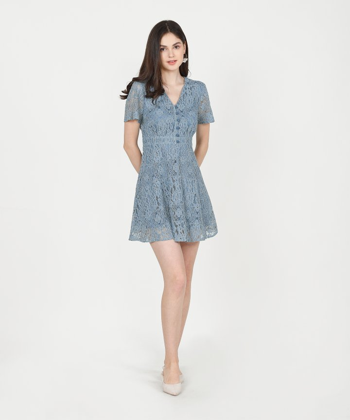 Odessa Lace Dress - Dust Blue (Restock)