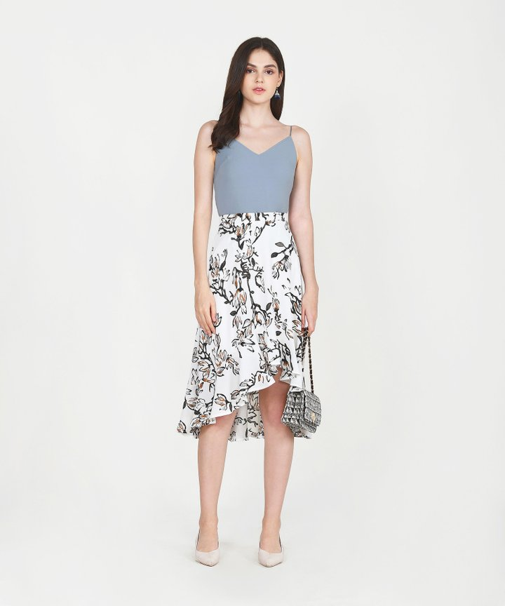 Lillie Floral Midi Skirt - White