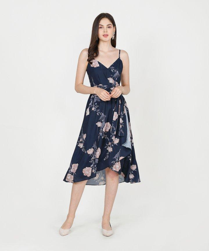 Rosetta Floral Midi - Navy