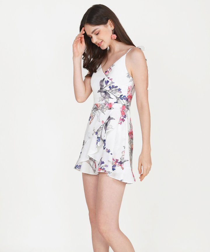 Inca Floral Overlay Playsuit - White