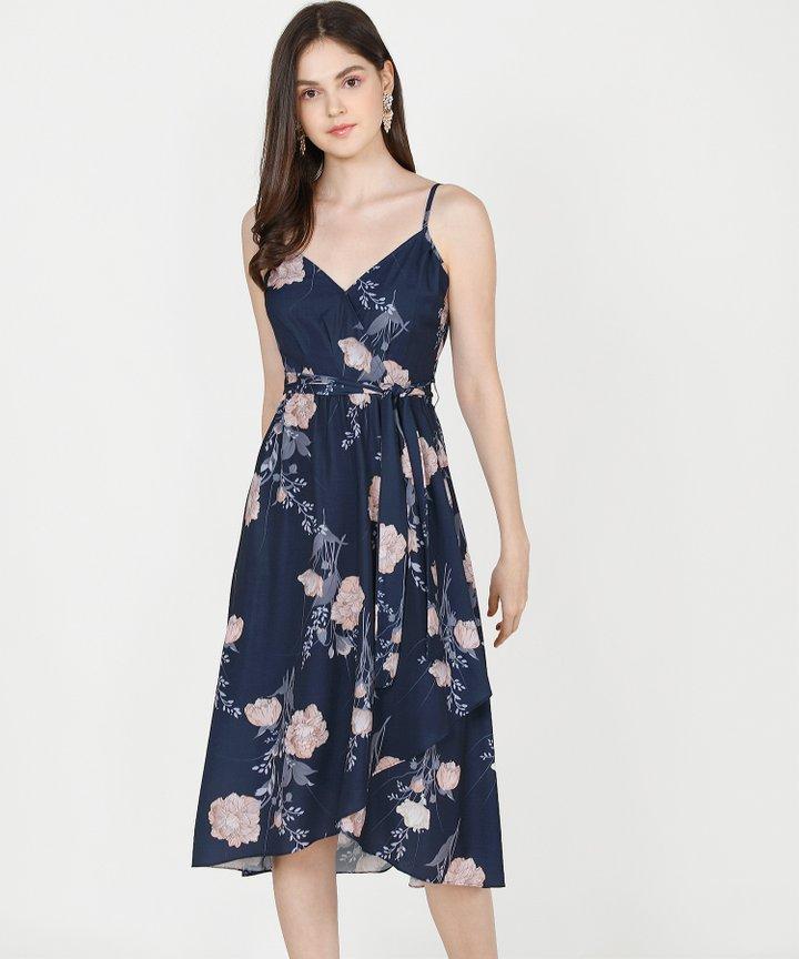 Rosetta Floral Midi Dress - Navy (Restock)