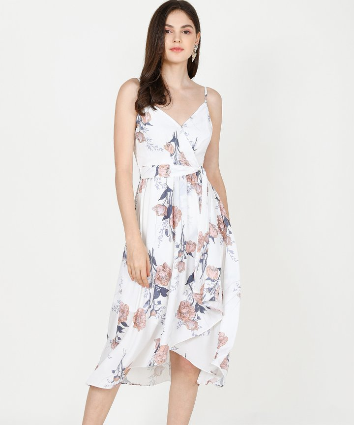 Rosetta Floral Midi Dress - White (Restock)