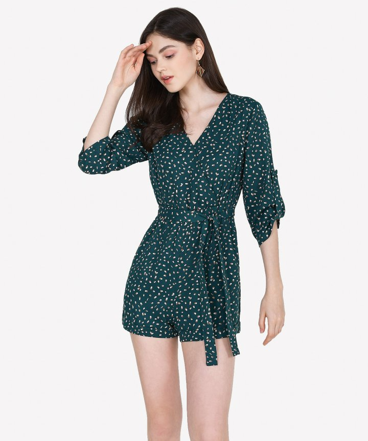 Blythe Printed Wrap Playsuit - Forest Green