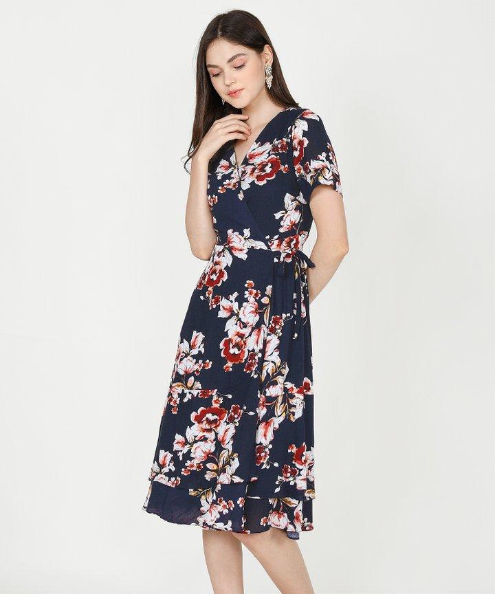 Esme Floral Overlay Midi - Midnight Blue