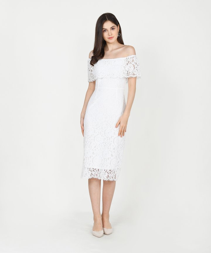 Marie Lace Off-Shoulder Midi - White