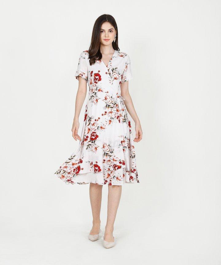 Esme Floral Overlay Midi - White