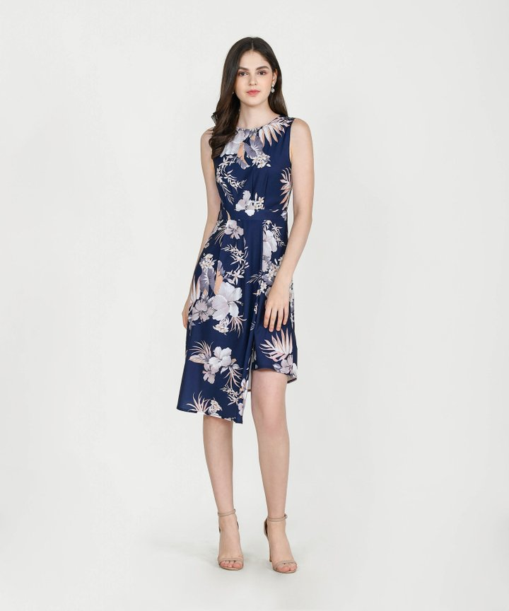 Saloni Floral Asymmetrical Midi - Midnight Blue
