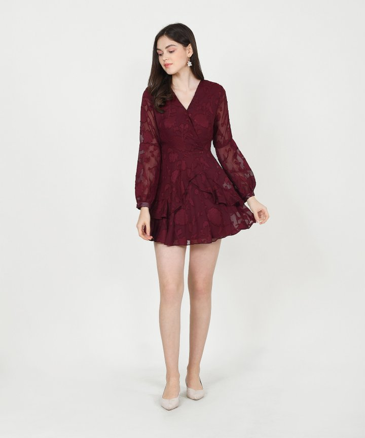 Lucienne Textured Ruffle Dress - Maroon
