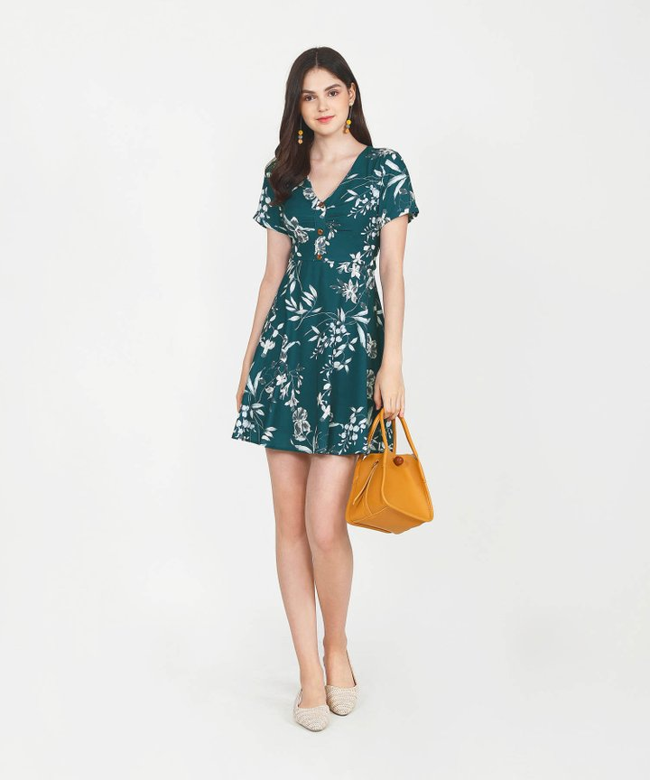 Maisie Floral Dress - Dark Teal