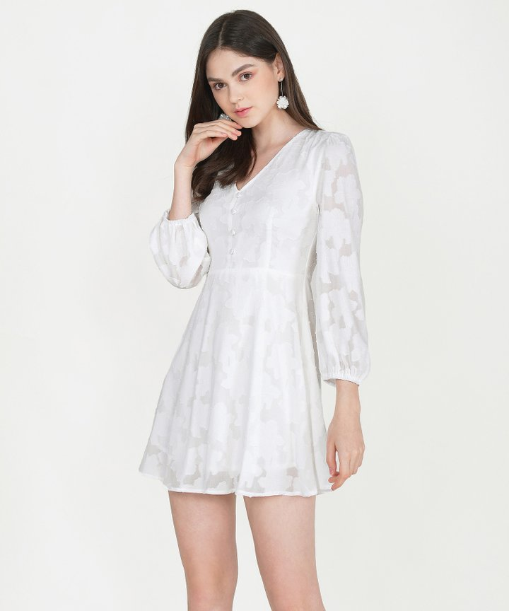 Cannes Chiffon Jacquard Dress - White