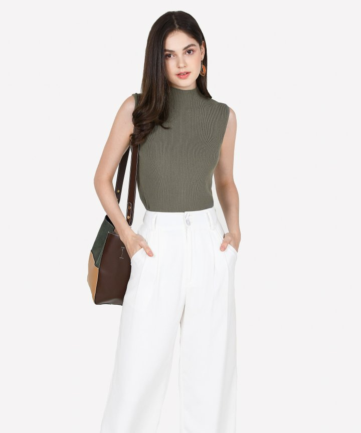 Verona Basic Knit Top - Olive