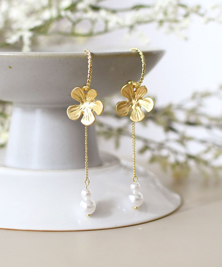Dahlia Floral Drop Earrings