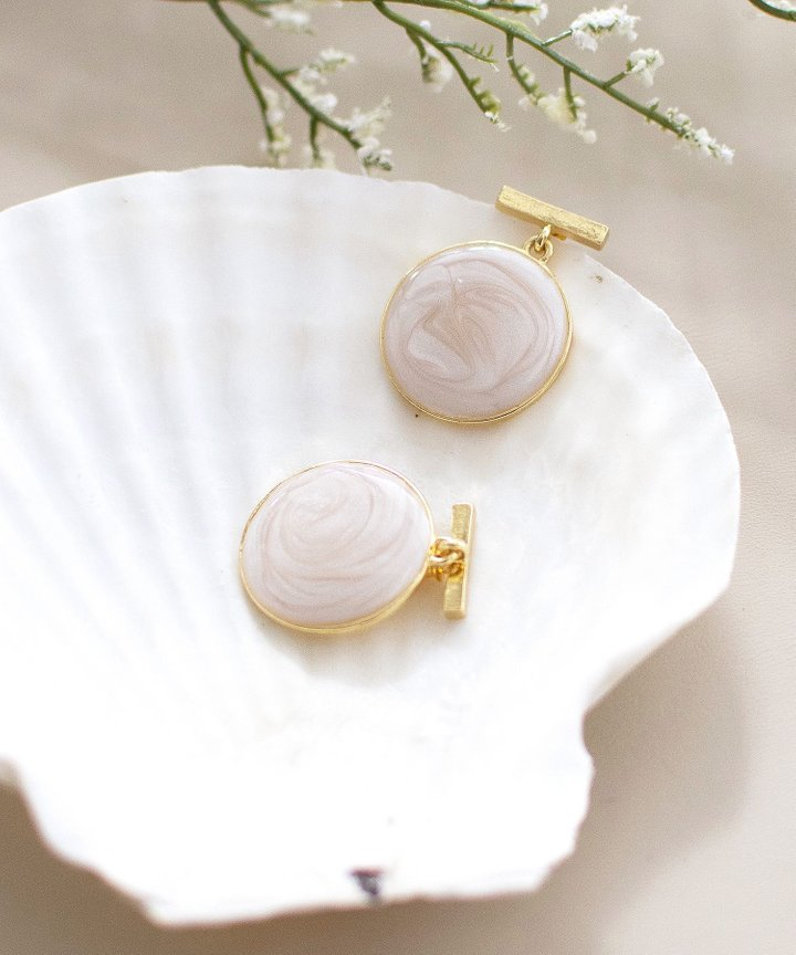 Intra Marble Circle Earrings