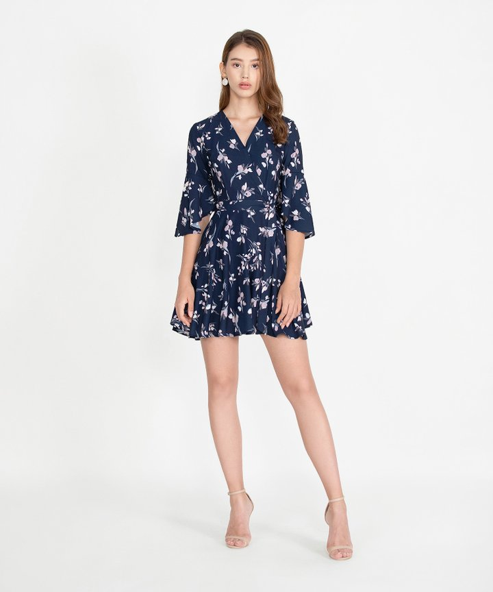 Mellow Floral Kimono Dress - Navy (Restock)