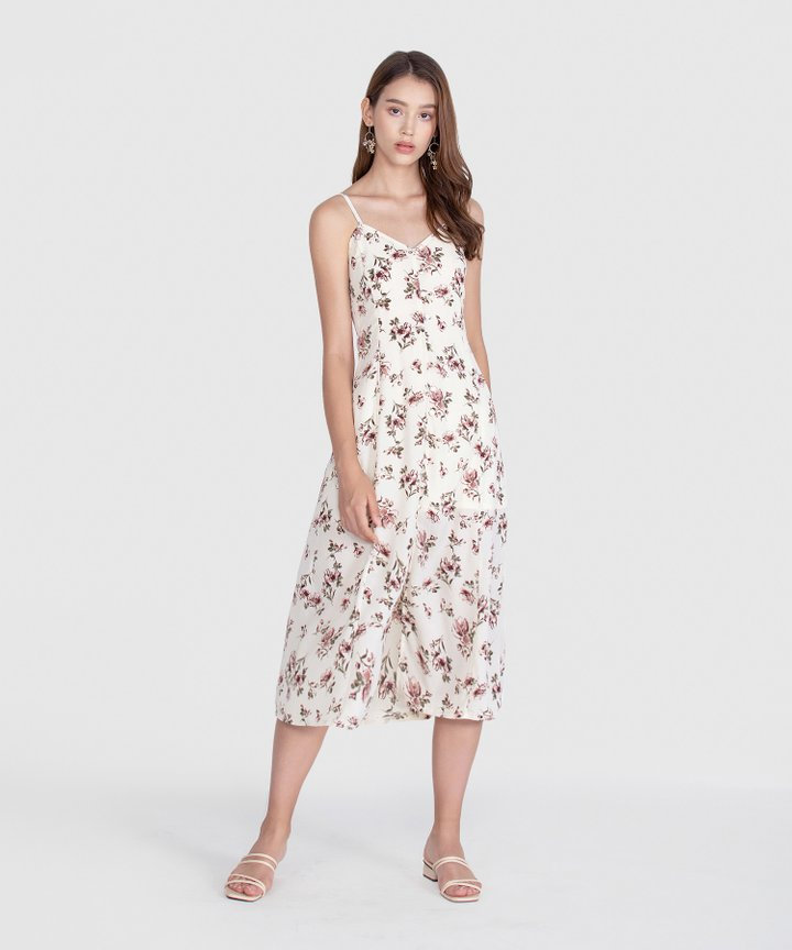 Melrose Floral Midi Dress - Off-White