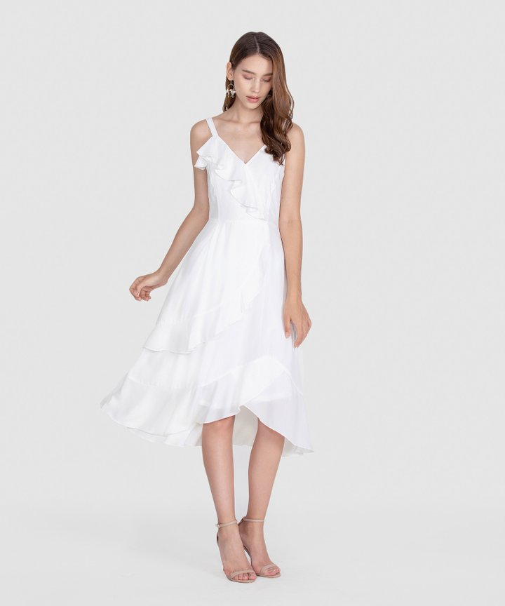 Savannah Ruffle Midi - White