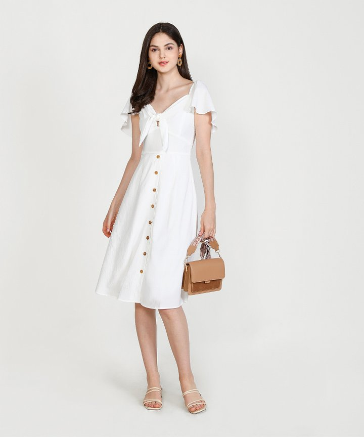 Madeleine Button Down Midi Dress - White (Restock)