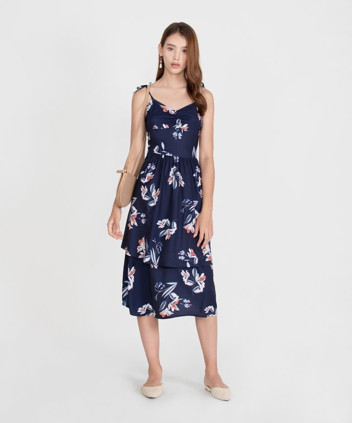 Kaia Floral Dress - Midnight Blue