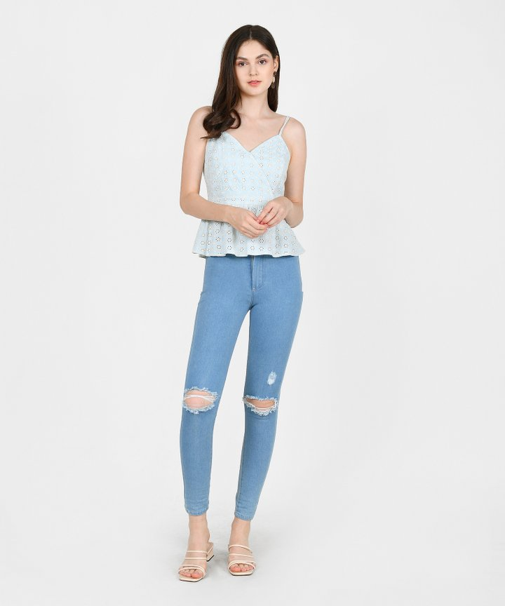 Chamomile Eyelet Peplum Top - Light Blue