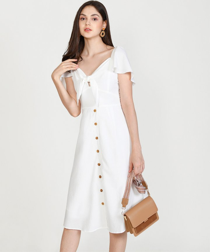 Madeleine Button Down Midi - White (Restock)