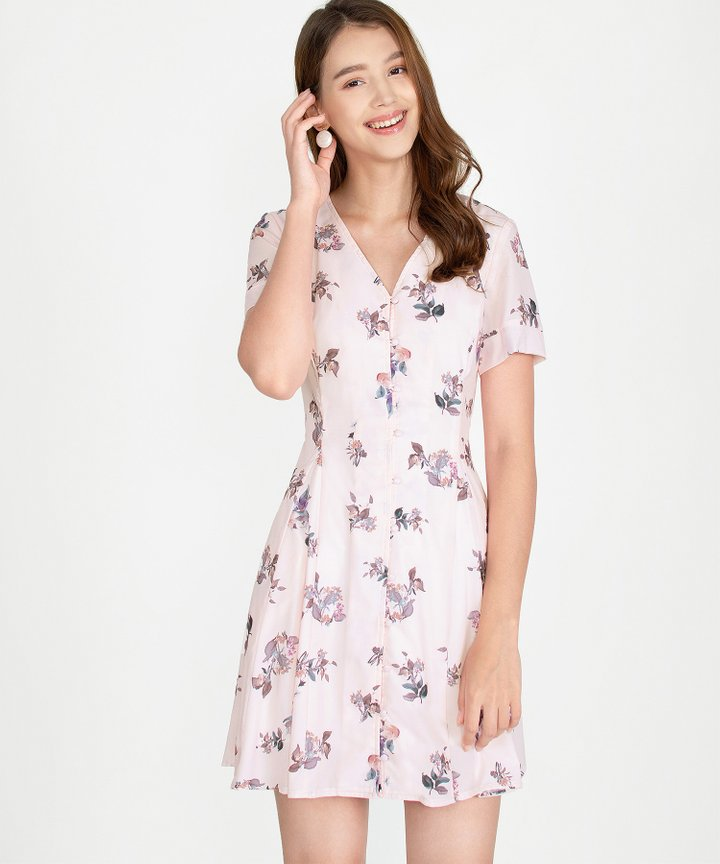 Ithaca Floral Dress - Pale Pink