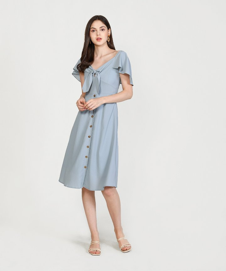 Madeleine Button Down Midi - Mist Blue