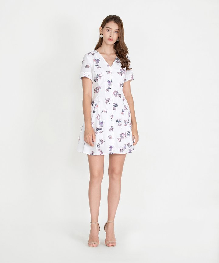 Ithaca Floral Dress - White