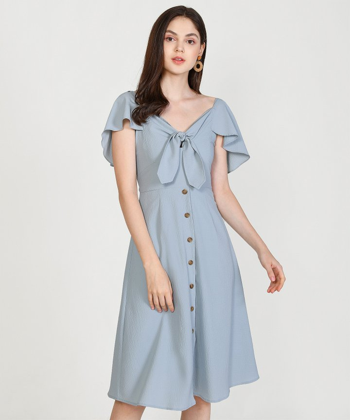 Madeleine Button Down Midi Dress - Mist Blue (Restock)