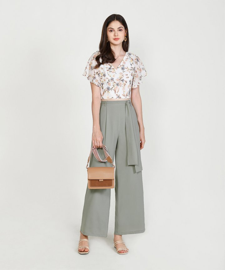 Laurie Floral Cropped Blouse - White
