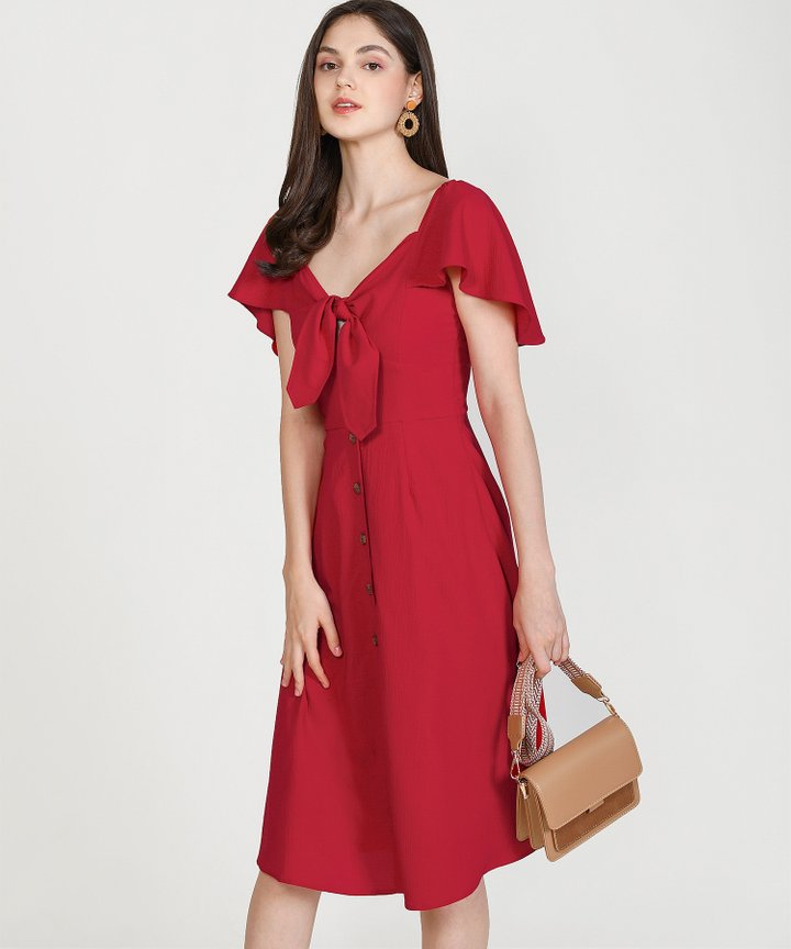 Madeleine Button Down Midi - Scarlet