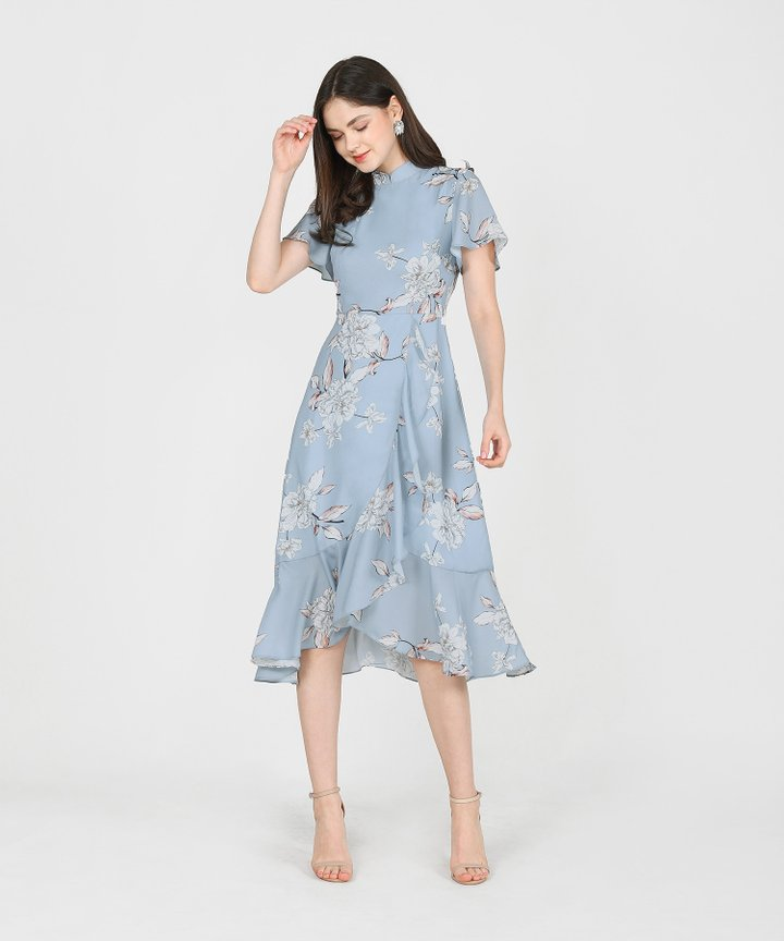 Coral Springs Floral Ruffle Midi - Mist Blue