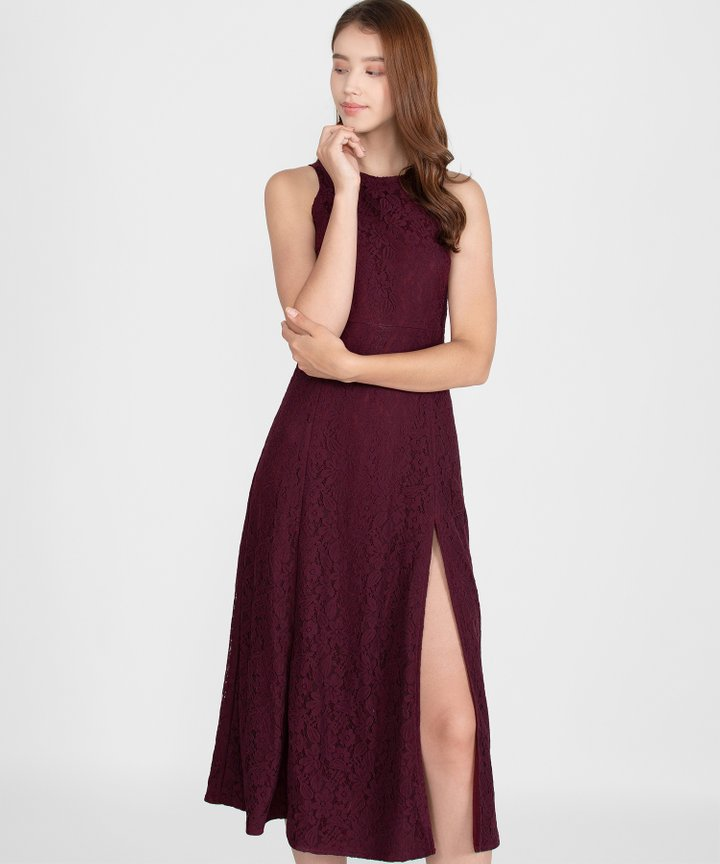 Hellenika Lace Maxi Dress - Burgundy
