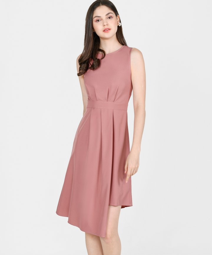 Saloni Asymmetrical Midi - Dust Rose