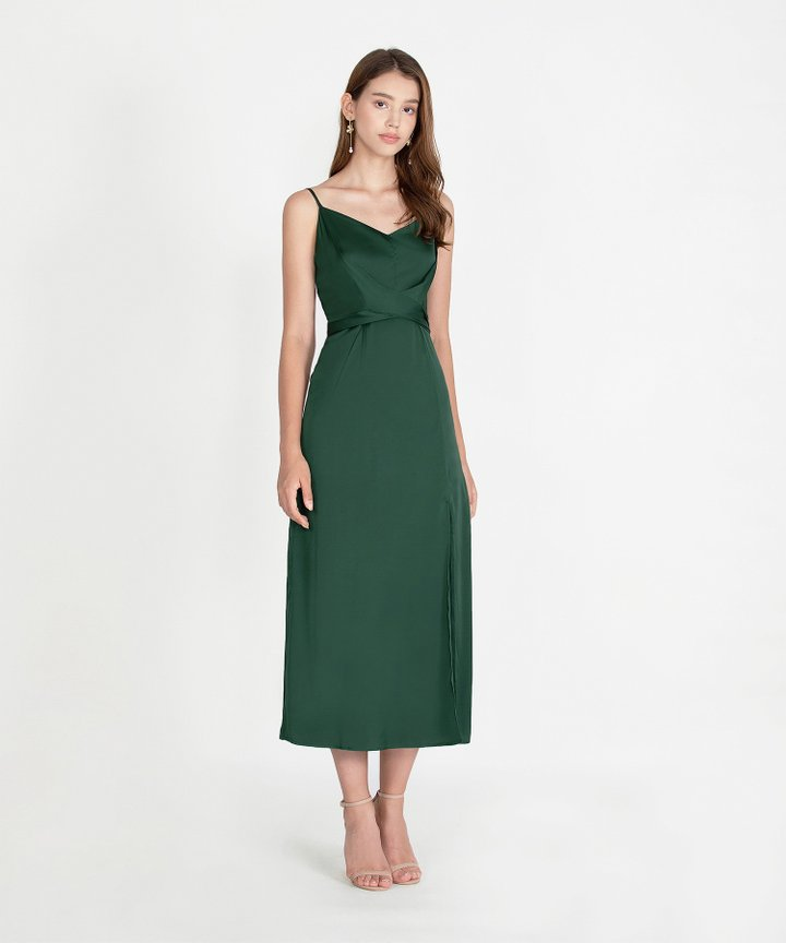 Champagne Satin Maxi - Forest Green