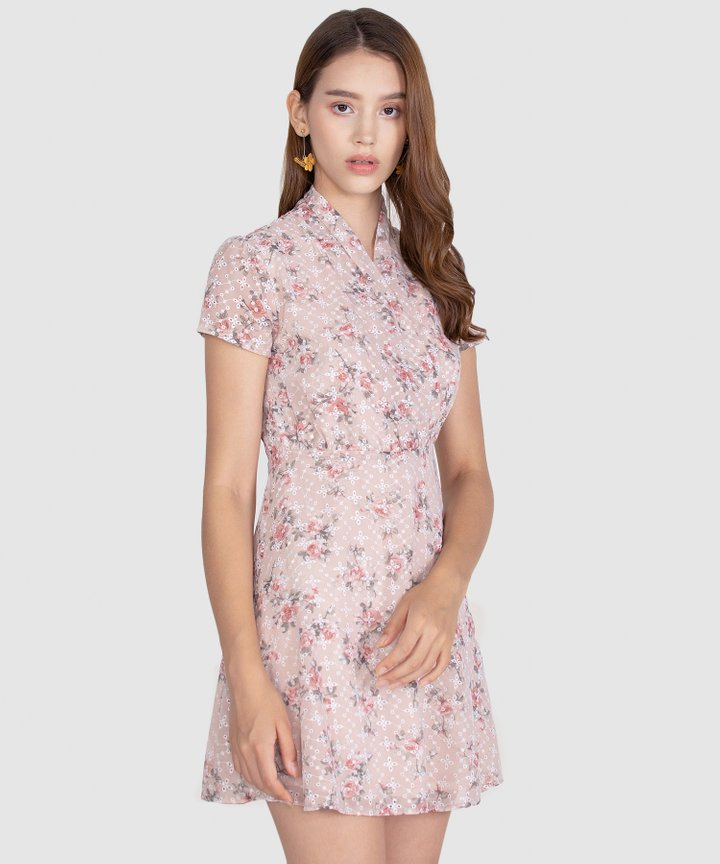 Capulet Floral Embroidered Dress - Pale Pink