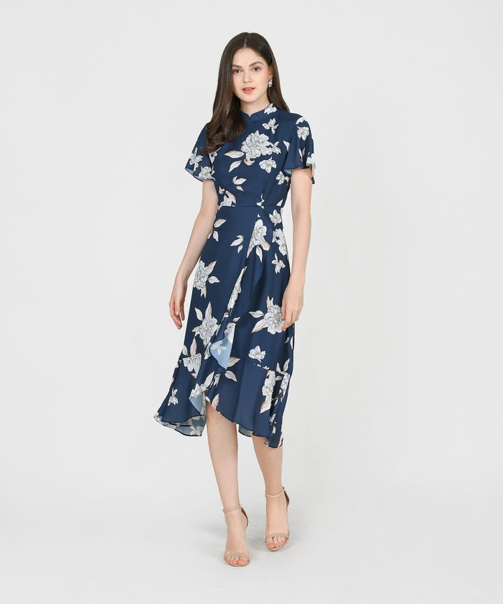 Coral Springs Floral Ruffle Midi - Navy