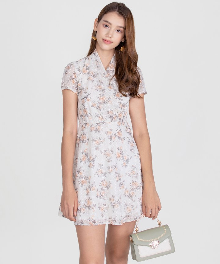 Capulet Floral Embroidered Dress - White