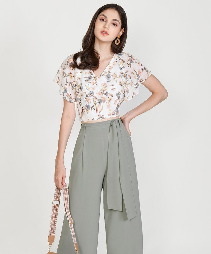 Temperley Wide-Leg Trousers - Dust Sage